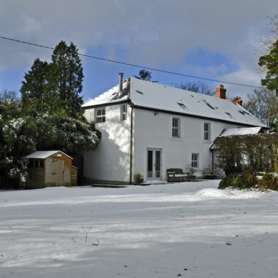 Manor Bedw Holiday Cottage in the snow near Narberth Pembrokeshire
